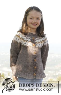 "Silje jacket - Knitted DROPS jacket with round yoke and flounce in ""Karisma"". Size 3 to 12 years. - Free pattern by DROPS Design Drops Design, Knitting For Kids, Free Knitting, Baby Knitting, Sweater Knitting Patterns, Knit Patterns, Pull Jacquard, Fair Isle Knitting, Baby Cardigan"