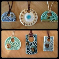 I can make my own clay pendants. Ceramic Necklace, Ceramic Pendant, Ceramic Jewelry, Ceramic Beads, Ceramic Clay, Clay Beads, Polymer Clay Jewelry, Ceramic Pottery, Ceramics Projects