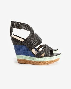 Loeffler Randall Multi Color Woven Wedge Sandal