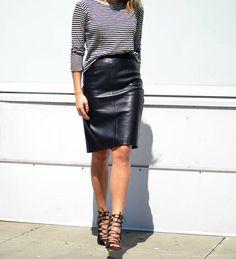 Black Leather Pencil Mini Skirt