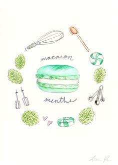 Mint Macaron Recipe - Hand-painted Watercolor print 5 x 7 - Paris French Laduree Herme Bakery Menthe. $20.00, via Etsy.