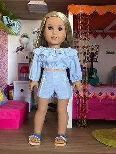 """18 inch , 18"""" doll clothes - 2 pc. Pintuck shorts and matching peasant crop top."""