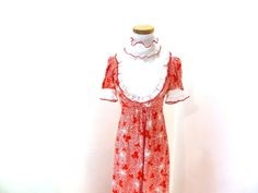 Hey, I found this really awesome Etsy listing at https://www.etsy.com/listing/219795829/vintage-red-maxi-dress-ruffle-collar