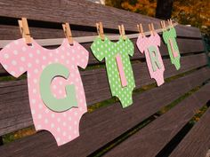 Onesie BABY GIRL  Baby Shower Banner Pink and by BubblyNewYork, $31.95