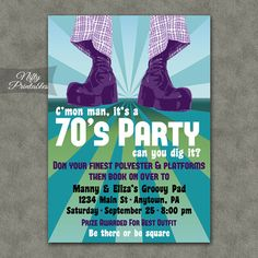 How can one not have fun at a 70s party? This invitation will start your theme party off right.    This listing is for one customized invitation in digital form. Print them at home or send them to a printer, its all good!    You Choose:  ▪ JPG (for online printers & photo labs) or ▪ PDF w/ 2 per page (home printing & Staples, Kinkos,etc.)    Size is 5x7 but if you prefer 4x6, please let me know in the Notes to Seller when checking out.    When checking out, please include in the ...
