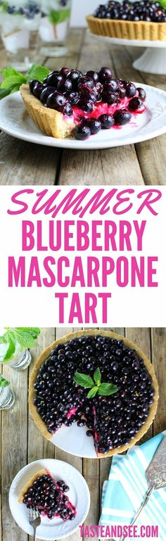 Buttery shortbread crust with walnuts, slightly sweet creamy mascarpone, fresh #blueberries w/a touch of sugar & a squeeze of lemon.  Delicious!  http://tasteandsee.com