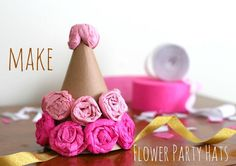DIY Crepe Paper Flowers : DIY Flower Paper Party Hats