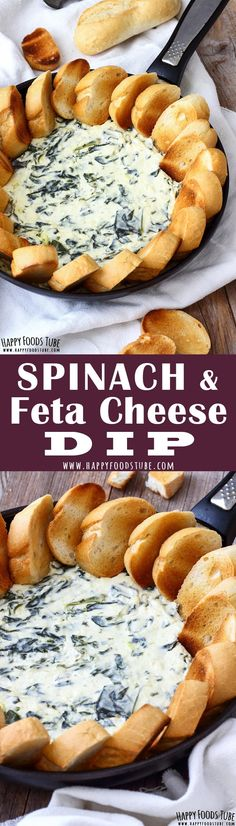 Warm spinach and feta cheese dip.