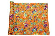 INDIAN KANTHA QUILT COTTON BEDSPREAD THROW PRINTED Vintage Ethnic India Art #Handmade #Asian