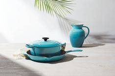 Caribbean Blue is an island-inspired hue, blended from the vibrant palette of a tropical seascape. Shop the Caribbean Blue collection in store or online at www.lecreuset.co.za. Le Creuset, Cookware, Hue, Caribbean, Tea Pots, Palette, Vibrant, Tropical, Colours