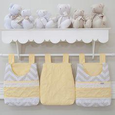 Porta Fraldas 3 Peças Bordado Inglês Brooklyn Chevron Cinza/Amarelo - Biramar - Baby Enxoval - BabyEnxoval