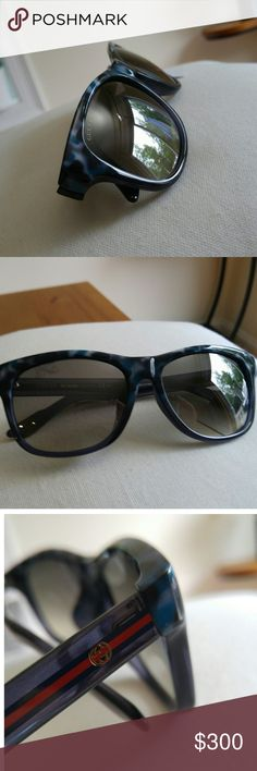 ✨GUCCI NWT Blue Wayfarer Sunglasses NWT Gucci blue Wayfarer sunglasses. Grey gradient mirrored lens with havana blue marbled style plastic frames. These are sold out everywhere. If you like wayfarers you need these!!  ✨Condition is new with tag- no flaws. Does NOT come with Gucci case- but will be sent in a luxury hard case and cleaning cloth will be included. Make me an offer ☺☺  ✨✨Take a look at my other listings to get a bundle discount. I am happy to answer any questions ☺☺ Gucci…