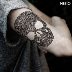 Black Death Skull Shoulder Tattoos Temporary Tatto Men Temporary Waterproof Man Tattoo Arm Sticker Fake Arm Sleeve Tattoo