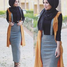 I got this skirt from a local unknown store where they sell Korean fashion, and the vest is from now in stores 💛… Islamic Fashion, Muslim Fashion, Modest Fashion, Korean Fashion, Girl Fashion, Fashion Outfits, Hijab Style, Hijab Chic, Hijab Dress