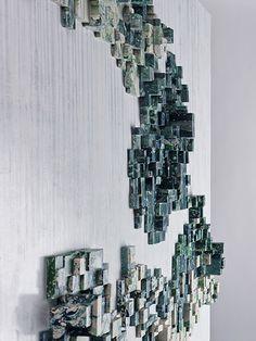 Work - www. Wall Sculptures, Sculpture Art, Picture Ornaments, Feature Wall Design, Deco Paint, Ceramic Wall Art, Light Art, Landscape Art, Installation Art