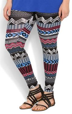 Deb Shops Plus Size Cobalt and Magenta Tribal Print #Legging  $12.50