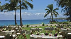 Beach House Lawn. Love the casual low tables with cushions! Ritz Carlton Kapalua Maui