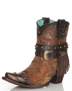 Corral Women's Metallic Fringe Strap Shorty Boots - Cognac