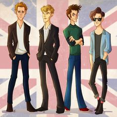 """Tom Hiddleston, Benedict Cumberbatch, David Tennant, and Matt Smith. Or, as I like to call them, the ""League of Long-Legged Gentlemen with Exceptionally Well-Pronounced Cheekbones."""" Yup."