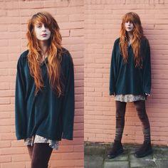 Nadia Esra - Thrifted Sweater, Zara Floral Dress, Zara Socks, Thrifted Platform Shoes - I thrift a lot