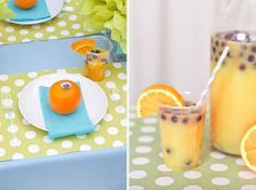 Monster Juice: For a refreshing and healthy drink, serve fresh squeezed orange juice with frozen blueberries.To embellish the cups, add an orange slice and a striped paper straw.