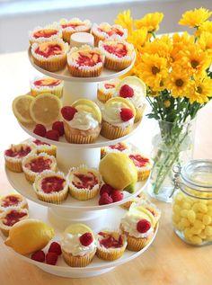 Lemon Raspberry Themed Desserts for baby or bridal shower.
