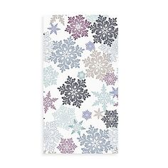 Transform your bath into a winter wonderland with the charming Snow Much Fun Guest Towels. These paper guest towels feature a multicolor allover snowflake pattern on a white background.