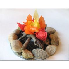 Recycle an old CD and make this fabulous miniature campfire!   Basic Materials: CD, rocks, sticks, sand, glue, tissue paper, toothpick