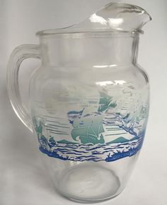 VTG 1950s Federal Glass Water Pitcher Ice Lip Jug Pirate Ship Palm Tree Parrot #Federal