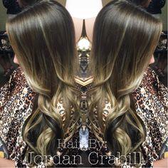 Blonde balayage swirled with a dark brown shadow underneath by Jordan  Crabill
