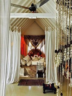 boho bed CHYES interior, boho chic, bedroom decor, beds, beaded curtains, dream bedrooms, bohemian bedrooms, homes, room dividers