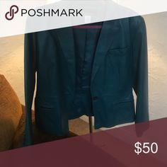 Jones NY Leather blazer. Turquoise. Jones NY Leather blazer. Turquoise. I can no longer fit this great blazer. Looking for a new home. Jones New York Jackets & Coats Blazers