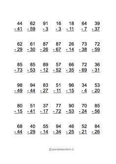 Sottrazioni con il Cambio: Esercizi per la Scuola Primaria | PianetaBambini.it Math For Kids, Fun Math, Maths, 2nd Grade Math Worksheets, First Grade Math, Abacus Math, Homework Sheet, Subtraction Worksheets, Simple Math
