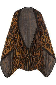 Alexander McQueen|Ocelot-print silk-chiffon cape|NET-A-PORTER.COM - StyleSays