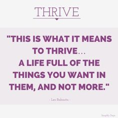 Thrive with a Simplified Lifestyle