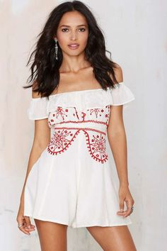 Bohemian Bones Cherry Bomb Embroidered Romper - Rompers + Jumpsuits |  |