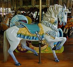 Horse on the historic Herschell-Spillman carousel, Golden Gate Park, CA