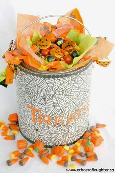 Echoes of Laughter: Halloween Treat Bucket {Tutorial} - Click thru for the full tutorial for this Halloween DIY idea using the Martha Stewart Crafts line