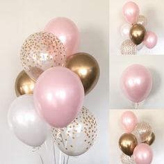 Pink Blush Balloons Blush and Gold Balloons Gold and Blush Blush Bridal Showers, Gold Baby Showers, 18th Birthday Party, Pink Birthday, Birthday Ideas, Pink Party Decorations, Bridal Shower Decorations, Engagement Balloons, Blush And Gold