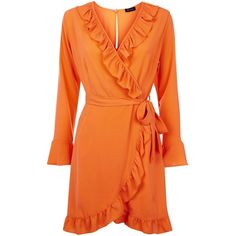 Bright Orange Frill Trim Wrap Front Dress (€30) ❤ liked on Polyvore featuring dresses, bright orange dress, bright colored dresses, orange dresses, bright dress and wrap front dress