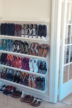 Home Shoe Storage: Shelf Shelving Room Footwear Furniture Pot rack Closet Shelves, Kitchen Shelves, Storage Shelves, Shelving, Storage Ideas, Shoe Organizer, Closet Organization, Diy Shoe Rack, Shoe Racks