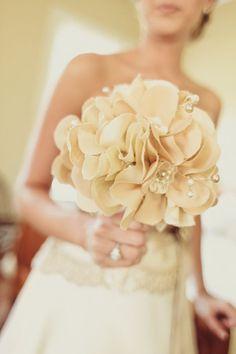 Real Weddings: Devon & Rob's Enchanting Savannah Wedding - DIY Fabric bouquet