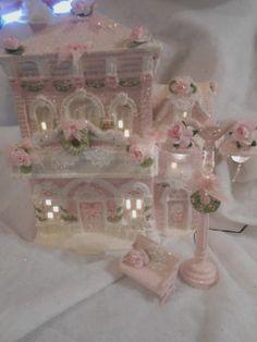 Shabby Pink Victorian Christmas Village House Store Chic Roses Glitter | eBay