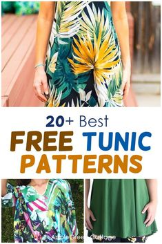 A huge collection of free tunic patterns to sew, for all styles and all sewing skills: beginner to advanced. Here you'll find a lot of womens tunic patterns, including tunic patterns with long or short sleeves, flutter sleeved tunics, swing tunic tops, sleeveless tunic dress patterns and tunic tops for all seasons. Check out all the free womens tunic patterns and choose your favorite. #tunicpatterns #freesewingpatterns #womenstunics #tunic Easy Sewing Projects, Sewing Projects For Beginners, Sewing Tutorials, Crafty Projects, Tunic Dress Patterns, Tunic Pattern, Sewing Patterns Free, Free Sewing, Tunic Tutorial