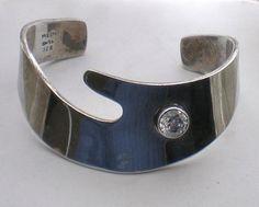 Modernist Taxco Mexico Sterling Silver 925 Created Diamond CUFF BRACELET 55.2 g.