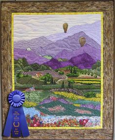 Best of Show Award Wall Hanging Memories of Provence by Marlene Koogan. ( love the striped fields) Quilting Projects, Quilting Designs, Watercolor Quilt, Landscape Art Quilts, Thread Painting, Quilt Festival, Small Quilts, Mini Quilts, Quilted Wall Hangings