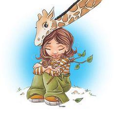 Carlie with Giraffe Digi Stamp in Digital images