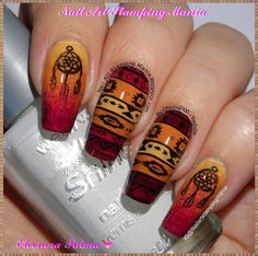 Nail Art Stamping Mania: Tribal Manicure With Born Pretty BP-L010 Plate