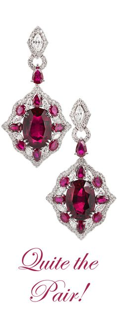 Rubellite tourmalines totaling 11.15 carats are accented by rubies and diamonds in this elegant pair ~ M.S. Rau Antiques