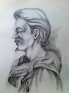 Técnica utilizada lápis de cor sobre papel tela, tema -Beduino.
